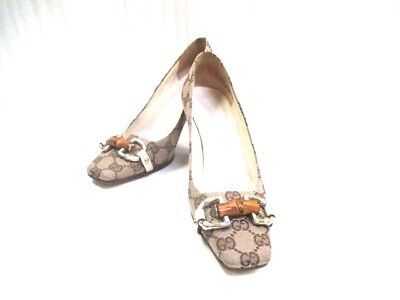 Auth GUCCI Bamboo Beige DarkBrown Multi Jacquard Hardware Bamboo Heels