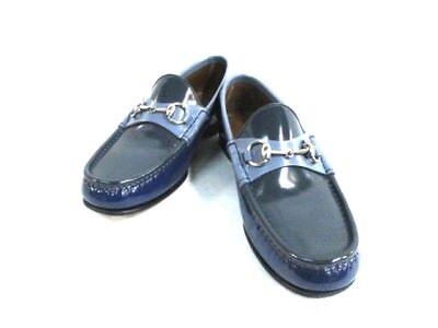 Auth GUCCI Horsebit DarkGray Light Blue Blue Leather Shoes Men