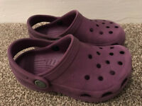 Purple Kids Crocs Size 8-9 (age 2-3 approx)