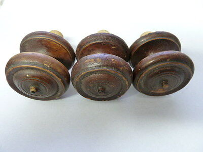 3 - Antique Turned Wood Glue In Knobs w/Dowel 1 3/4