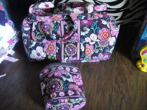 vera bradley floral diaper bag and bottle bag set ebay. Black Bedroom Furniture Sets. Home Design Ideas