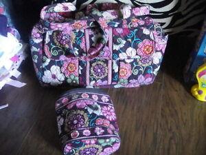 vera bradley floral diaper bag and bottle bag set ebay. Black Bedroom Furniture Sets. Home Design Ideas