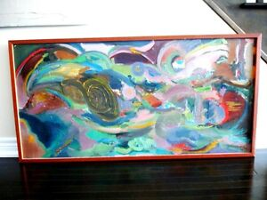 """Contemporary ORIGINAL OIL PAINTING ABSTRACT Polish 49""""L Krwawicz Kitchener / Waterloo Kitchener Area image 2"""