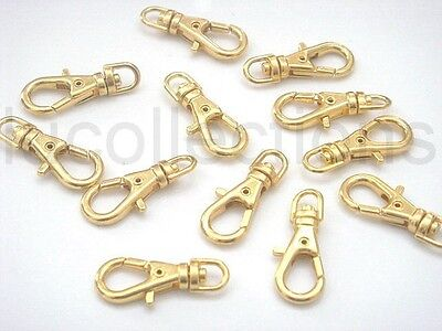 50 Mini Gold Plated Metal Swivel Lobster Clasps Clips H61-50