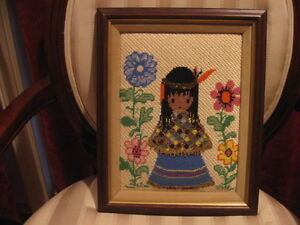 Vintage-Completed-Framed-Cross-Stitch-Needle-Point-Hand-Beaded-Indian-Girl
