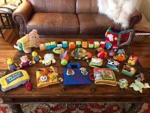 Huge Set of Plush Intereactive Baby Books & Soft Toys & Rattles