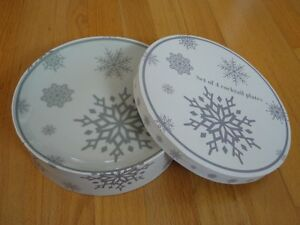 Brand new in box set of 4 snowflakes dessert plates London Ontario image 2