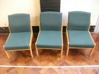 3 green color reception chairs . £5 for the lot.