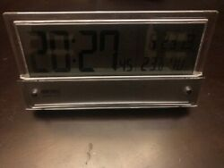 SEIKO CLOCK Table clock Radio wave Digital Silver pattern SQ782B