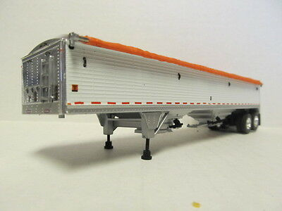 DCP 1/64 SCALE WILSON GRAIN TRAILER (HOPPER BOTTOM)  WHITE  WITH ORANGE TARP