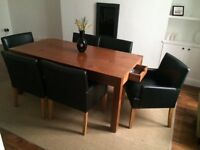 Modern solid mahogany dining table and chairs