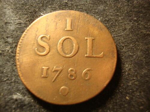 1 Sol 1786 VF  Copper  Joseph II LUXEMBOURG  D2X