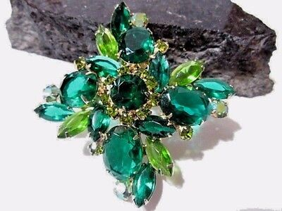 OPEN BACK LARGE GLASS STONE MALTESE CROSS PIN MARQUISE GORGEOUS VINTAGE