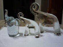 3 X Hand made Solid Glass Elephants with trunk up Randwick Eastern Suburbs Preview