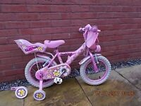 Daisychain children's Bike complete with stabilisers, mudguards, Baby toy carrier and front bag