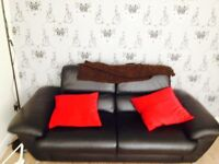Two and three seat leather sofa
