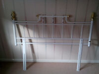 WHITE METAL DOUBLE BED HEADBOARD with Brass effect finials and porcelain decorations