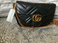 Women s GG Marmont Inspired Small Shoulder Bag Handbag Black Gold UK LV CC  MK e5eb1b6ac35cc