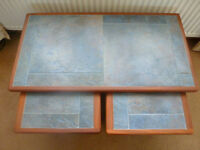 Vtage 70's solid teak wood nest 3 blue slate stone tile coffee tables~G Plan Ercol Nathan Furniture