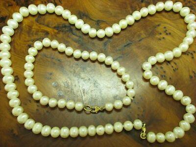 Akoya-Pearls Jewelry Set Chain & Bracelet with 14kt 585 Yellow Gold Clasp Akoya Gold Jewelry Set