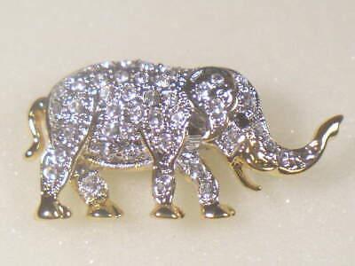 SMALLER ANIMAL   ELEPHANT PIN BROOCH WITH  SWAROVSKI CRYSTALS  DB9334UP