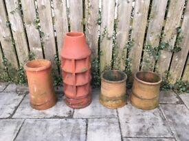 4 antique chimney pots for sale