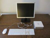 Mac Mini Computer, Apple keyboard & mouse, LG monitor