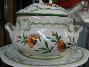 SOUP TUREEN and PLATTER.....NEW.....NEVER USED.....BEAUTIFUL