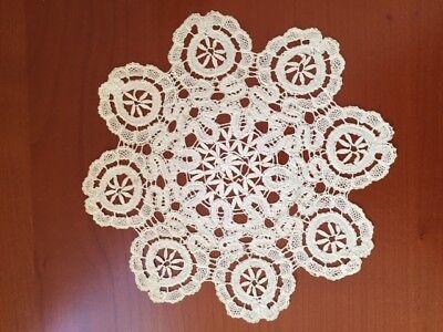 """Vintage Russian Vologda Bobbin Lace Off-White Pure Linen Handmade Doily 10"""" Dia"""