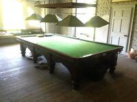 Antique full length snooker table