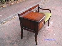 Vintage Mahogany Telephone Table Seat By Chippy Furniture