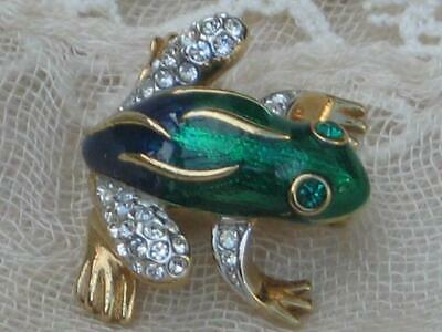 Dress Up As Animals (SIGNED VINTAGE 70'S A&S ATTWOOD AND SAWYER GREEN ENAMEL AND DIAMANTE FROG)