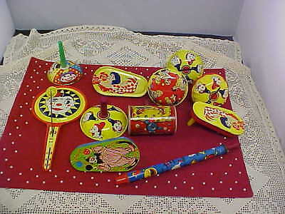 New Years Eve Tin Noisemakers Lot of 11 All Differ 2 Banners Vintage Good Cond](New Years Noisemakers)