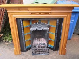 Fire place and pine mantle piece