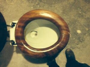 Antique mahogany seat toilet