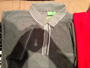 Hugo Boss Green label gray terry polo LARGE