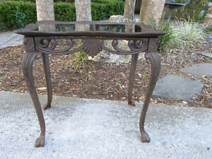 Vintage cast iron glass top table french style garden for Cast iron table with glass top