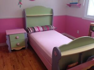 Bed and side table for girls room