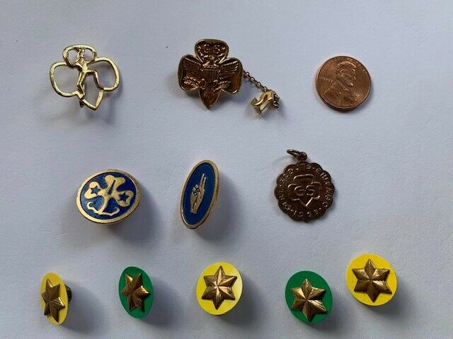 Lot of 10 Vintage Misc. Girl Scout & Brownie Pins
