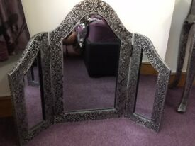 Blackened Silver Metal Embossed 3 way Dressing Table Mirror