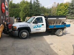 Pick up truck with salter and plow