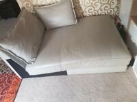 Quality real leather grey sofa with 2 large cushion
