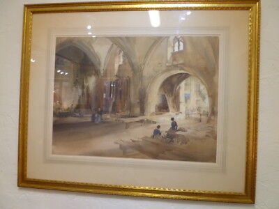 1800s Original Sir William Russell Flint Watercolor Gothic Market Hall Braulane