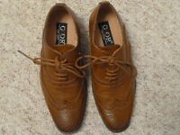 Boys tan leather brogue shoes, Size 12 (Child).