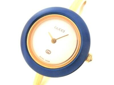 Auth GUCCI 11/12 White Gold Blue 0545652 Women