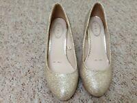 Debenhams Debut Gold High Heeled Shoes Size 4