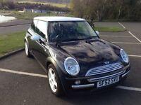 Black and white Mini Cooper