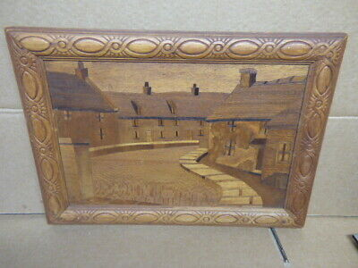 vintage Marquetry plaque 1956  The MILL POND Swanage DORSET