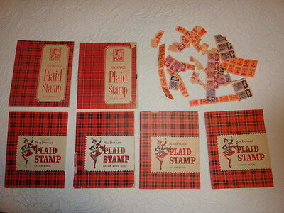 Vintage Set of 5 MACDONALD PLAID Stamp Saver Books & Assorted Stamps 1960's