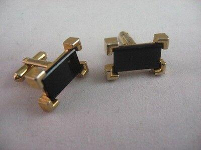 Ecke Gerahmt (Vintage Schwarzes Glas Rechteckig Gold Ton Ecke Gerahmt Herren Manschettenknöpfe)